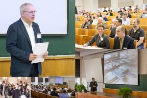 Eindrücke der Tagung – von der Eröffnung durch Prof. Manfred Curbach (links oben) und der keynote lecture von Prof. Schnell (unten rechts) bis zur Kaffeepause… (Fotos: Ulrich van Stipriaan)