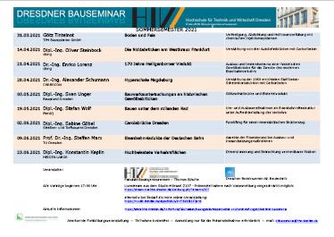 Vorschaubild zum Programm des Dresdner Bauseminars 2021